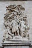 Stäng sig upp sikten av skulpturerna på Arc de Triomphe i Paris, arkivfoton