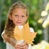 Stäng sig upp ståenden av den söta flickan som rymmer den torra leafen. Arkivbild