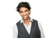 Stäng sig upp ståenden av skratta för ung man royaltyfri foto