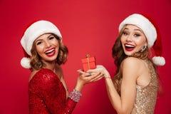 Stäng sig upp ståenden av två härliga kvinnor i julhattar Royaltyfria Foton