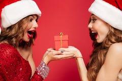 Stäng sig upp ståenden av två upphetsade kvinnor i julhattar Royaltyfri Bild