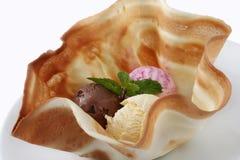 Stäng sig upp stilleben av skopor av choklad, vanilj, Berry Ice Cream royaltyfri bild