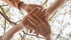 Stäng sig upp teamwork som staplar handbegrepp fotografering för bildbyråer
