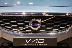 Stäng sig upp Volvo V40 det arga landet på främre gril Royaltyfria Foton