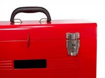 stäng upp den isolerade röda toolboxen Royaltyfri Foto