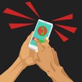 Stängande inkommande appell på den smarta telefonen Arkivbild