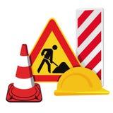 Stängd av konstruktionsplats, trafikvarning, varnande tecken royaltyfri illustrationer