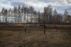 Stängd av ventil för disconnected olje- pump Ryssland Bashneft, Rosneft arkivbild