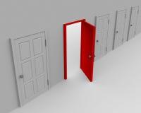 stängd dörr fyra en som är öppen Arkivfoto
