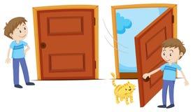 Stängd dörr och öppnad dörr stock illustrationer