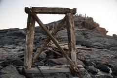 Stängd gammal bruten bro Arkivfoto