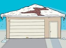 Stängd garage och dörr med snö Arkivfoto