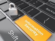 Stängd hänglås, mapp och informationssäkerhet på datorkeyb Arkivfoto