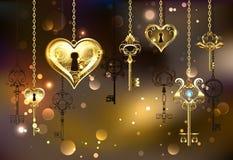 Stängd hjärta med tangenter på brun bakgrund stock illustrationer