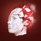 Stängd med fönsterluckor head explosion för glansig kvinna - huvudvärk, mentala problem, spänning Vektor Illustrationer