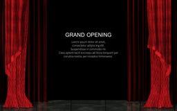 Stängd röd realistisk etappgardin Begrepp för storslagen öppning Royaltyfri Foto