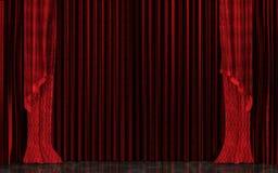Stängd röd realistisk etappgardin Begrepp för storslagen öppning Royaltyfri Bild
