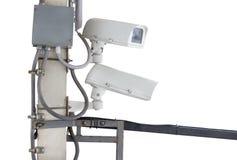 Stängd-strömkrets television (CCTV) 0n väggen Royaltyfria Bilder