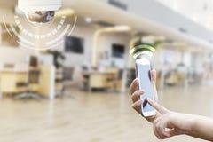Stängd-strömkrets television, säkerhetsCCTV-kamera eller bevakning s fotografering för bildbyråer