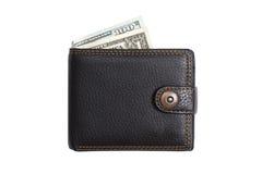 Stängd svart läderplånbok med kontanta dollar Arkivbild
