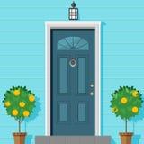 Stängd ytterdörr med en lykta och dekorativa växter i en kruka Vektorillustration i plan stil vektor illustrationer