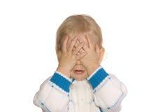 stängda ögonflickahänder har Arkivbild