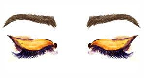 Stängda östliga mandel-formade ögon med makeup, guld- bruna ögonskuggor, svart översikt, mascara, bruna ögonbryn royaltyfri illustrationer