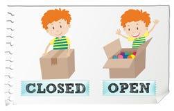 Stängda motsatta adjektiv och öppnar stock illustrationer