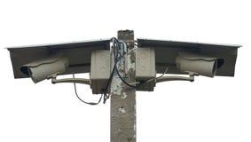 Stängda två - strömkretstelevisioner (CCTV) royaltyfria bilder