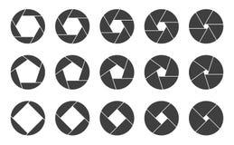 Stänger med fönsterluckor symboler för kameraöppningslogo stock illustrationer