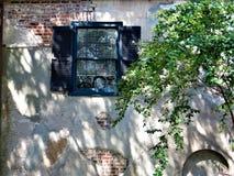 Stängt med fönsterluckor fönster, charleston, South Carolina royaltyfri foto
