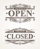 Stängt och öppet utsmyckat retro tecken stock illustrationer