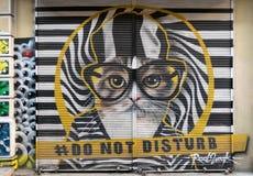 Stängt shoppa yttersida med metalldörren som täckas med färgrika grafitti på Hoca Tahsin Street, det Karakoy området, Istanbul, T Arkivfoton