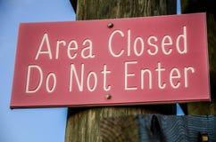 Stängt tecken för område Royaltyfria Foton