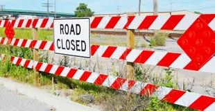 Stängt tecken för väg Fotografering för Bildbyråer