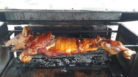 Stängt upp BBQ grillat griskött på brand som är klar till matställen fotografering för bildbyråer