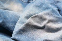 Stängt upp jeans, grov bomullstvilltextur, selektiv fokus Arkivbild
