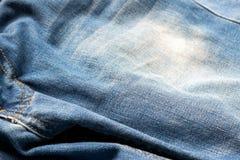 Stängt upp jeans, grov bomullstvilltextur, selektiv fokus Royaltyfri Bild