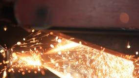 stängt upp metall såg att klippa ett stål lager videofilmer