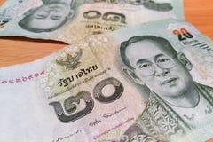 Stängt upp på thailändskt BAD för sedel 20 Arkivfoton