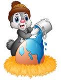 Stänk för påskkanin av målarfärg på ägg i redet royaltyfri illustrationer