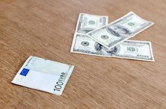 Stärke des Dollars gegen den Euro stockfoto