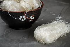Stärkeglasnudel-Mungobohnen, Kartoffeln, Reis Stockfoto