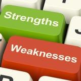 Stärken und Schwäche-Computer-Schlüssel, die Leistung oder zeigen stockfotos