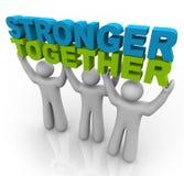 Stärkeres zusammen - Anheben der Wörter stock abbildung