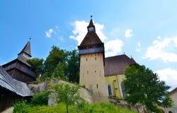 Stärkt kyrka av Biertan, Rumänien Arkivbilder