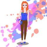 Stå flicka Arkivbild