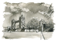 Stå hög överbryggar, den London illustrationen royaltyfri illustrationer