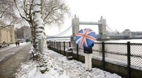 Stå hög överbryggar på en snöig dag fotografering för bildbyråer