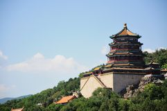 Stå hög av buddistisk rökelse Foxiangge Livslängdkulle Wanshoushan kunming lake Kunminghu beijing slottsommar Yiheyuan royaltyfri foto